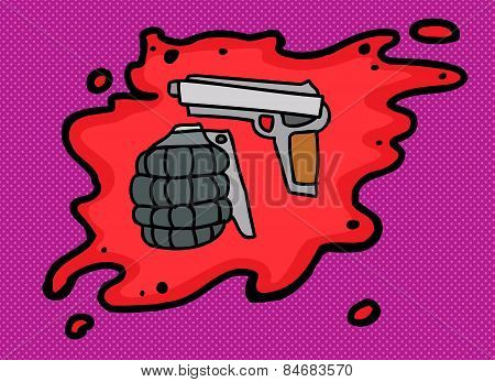 Gun And Grenade In Blood