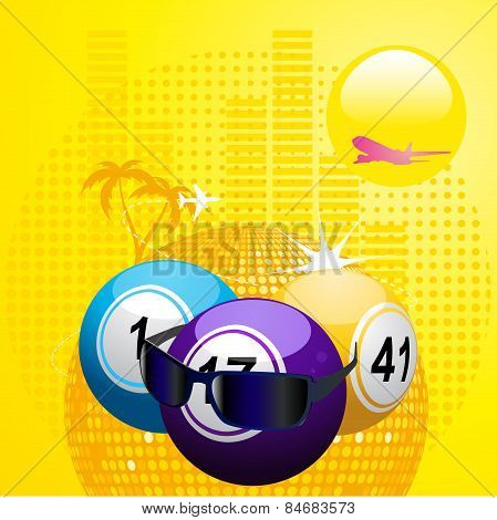 Bingo Balls With Sunglasses On Summer Background