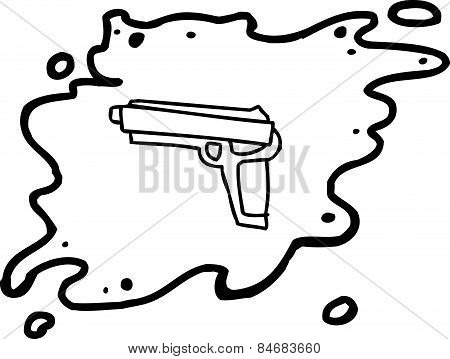 Outlined Gun In Splatter
