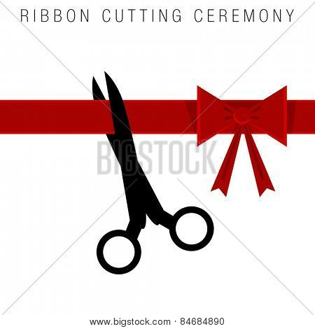 An image of an abstract ribbon cutting ceremony.