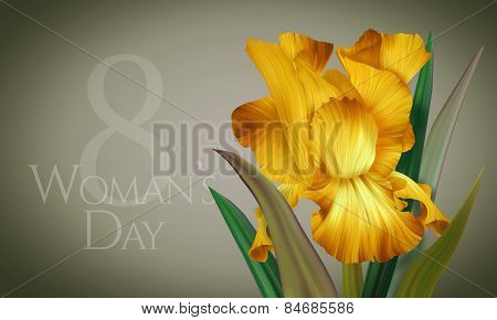 Beautiful Greeting Card, Banner, Poster with artistic colorful fantasy yellow iris