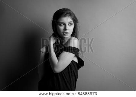 Beautiful Caucasian Brunette Woman