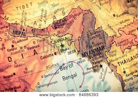 Vintage Map Myanmar,Bangladesh,  Close-up macro image of South East Asia  map . Selective focus on Bangladesh
