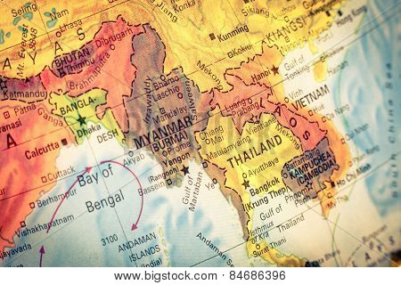 Vintage Map Thailand and Laos .  Close-up macro image of Thai  map . Selective focus on Bangkok
