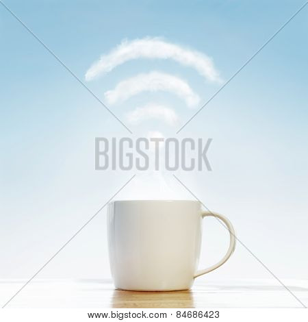 Coffee Cup With Wifi Cloud