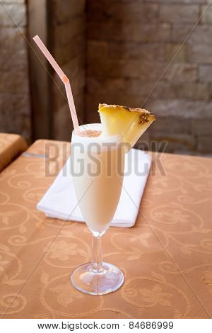 Pina Colada Cocktail In A Tall Glass