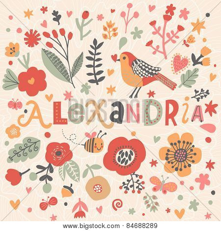 Bright card with beautiful name Alexandria in poppy flowers, bees and butterflies. Awesome female name design in bright colors. Tremendous vector background for fabulous designs