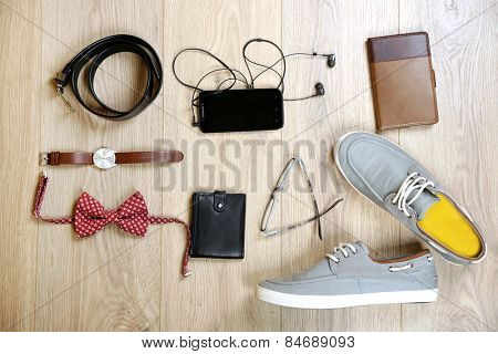 Still life of casual man. Modern male accessories  on wooden background