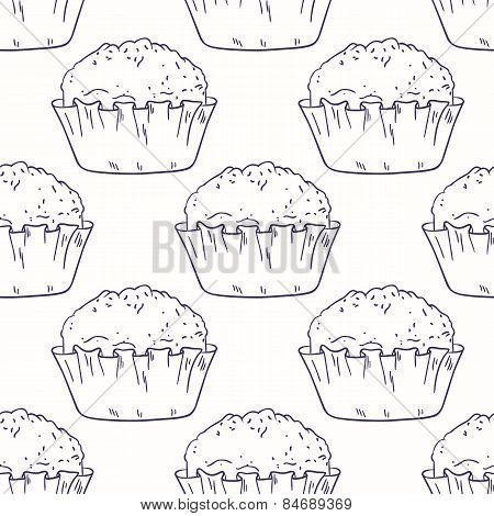 Outline Seamless Pattern With Muffins