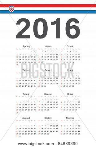 Croatian 2016 Year Vector Calendar