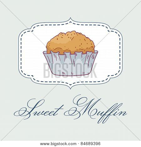 Vector Illustartion Of Hand Drawn Muffin.