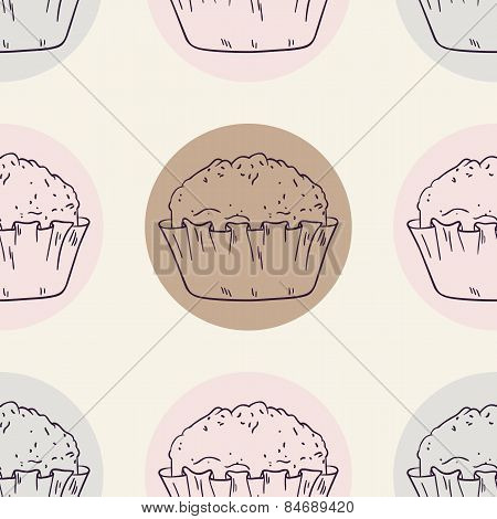 Retro Seamless Pattern With Muffins