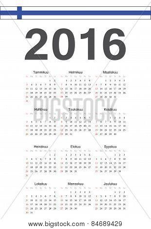 Finnish 2016 Year Vector Calendar