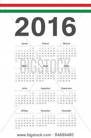Hungarian 2016 Year Vector Calendar
