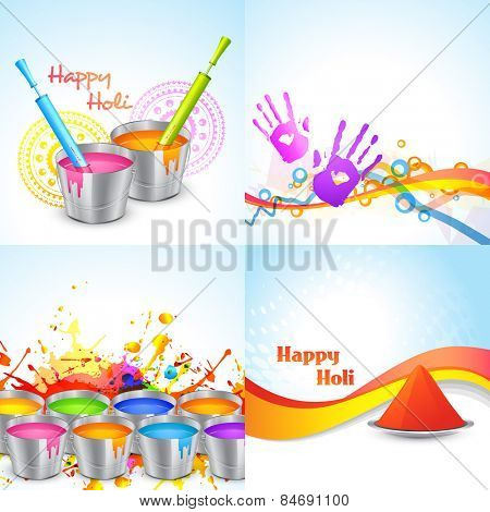 vector set of happy holi design with bucket, pichkari and gulal