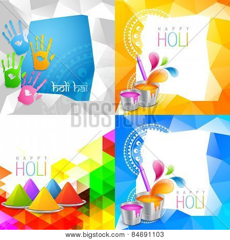 vector attractive set of holi background with space for some text