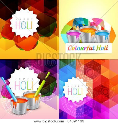 vector set of holi background with colorful paint bucket illustration