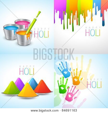 vector collection of holi designs with pichkari, bucket, colorful hand and gulal