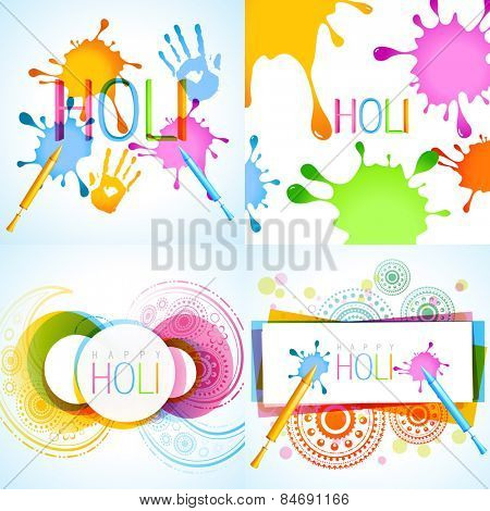vector collection of holi background with different colors