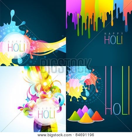 vector set of holi background with colors of gulal