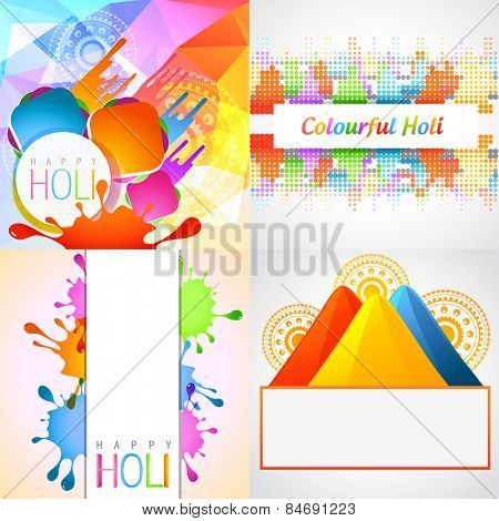 vector set of holi background with colorful gulal