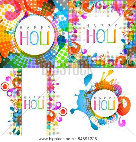 vector attractive set of holi design with colorful splashes