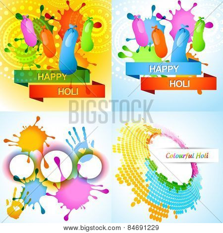 vector attractive set of holi background with colorful splashes and balloon