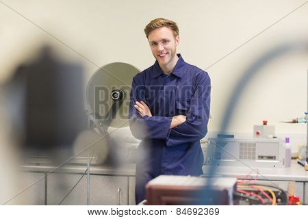 Engineering student smiling at camera at the university