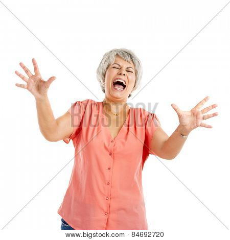 Portrait of a elderly woman yelling and worried with something, isolated on a white background