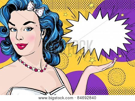Pop Art illustration of woman with the comic speech bubble .Pop Art girl. Party invitation.