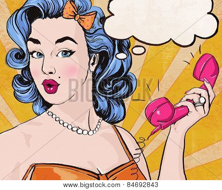 Pop Art girl. Party invitation. Birthday greeting card.Call me.
