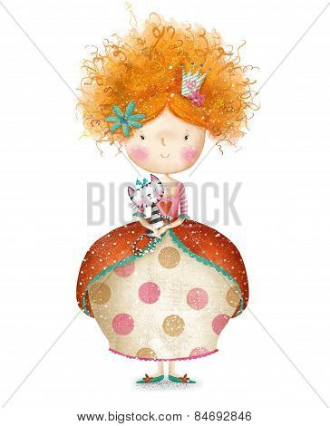 Cute small princess with cat.Childish card in sweet colors.Little Princess.Birthday greeting card.