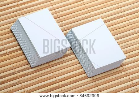 Two Set Of Blank Business Card Mockup On Wooden Background