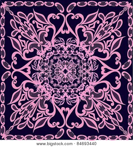 illustration with lilac and pink square decoration