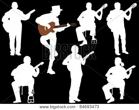 illustration with seven guitarists isolated on black background