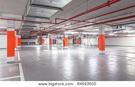 Photo Of Underground Parking, Industrial Interior Background.