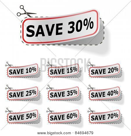 Discount labels with red frame isolated on white.