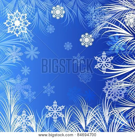Abstract winter window ornaments background.