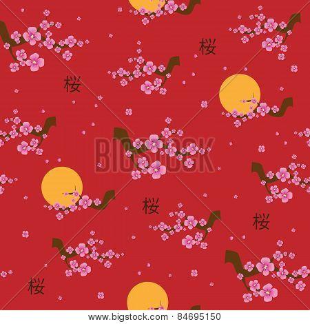 Spring seamless pattern blooming sakura