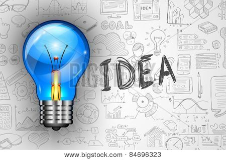 Infographics Idea Lamp with Business doodles Sketch background: infographics vector elements isolated, . It include lots of icons included graphs, stats, devices,laptops, clouds, concepts and so on.