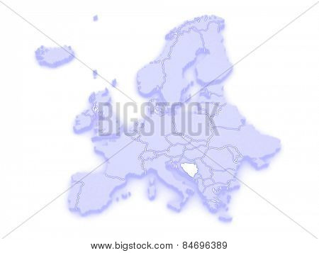 Map of Europe and Bosnia and Herzegovina. 3d