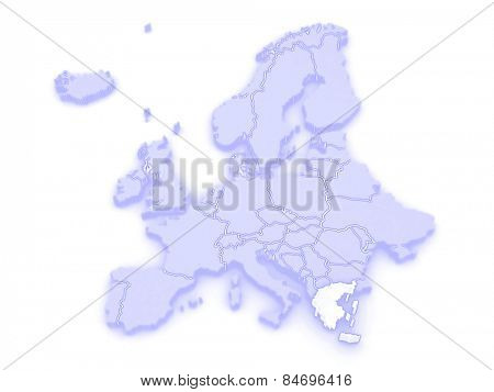 Map of Europe and Greece. 3d