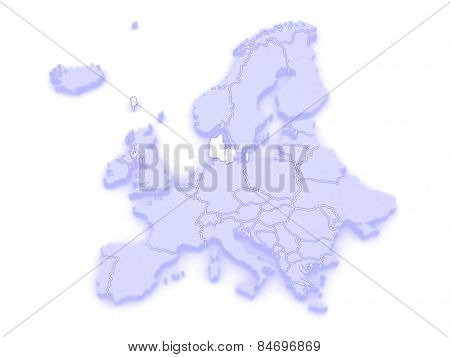 Map of Europe and Denmark. 3d