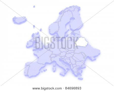 Map of Europe and Belarus. 3d