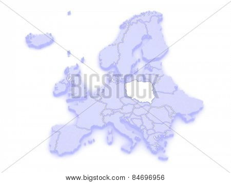 Map of Europe and Poland. 3d
