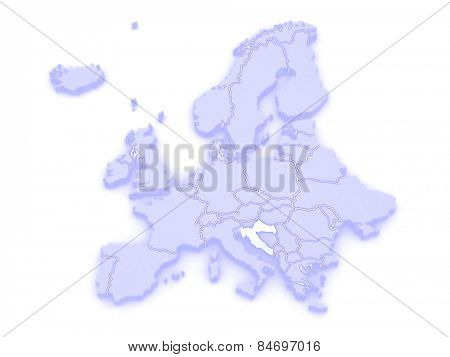 Map of Europe and Croatia. 3d