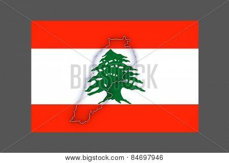 Map of Lebanon. 3d