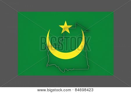Map of Mauritania. 3d