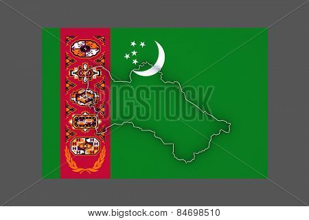 Map of Turkmenistan. 3d