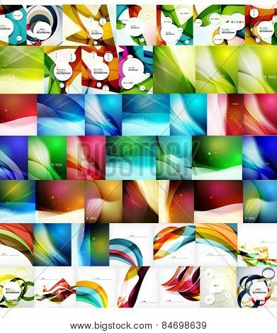 Geometric wave abstract backgrounds, vector mega collection of futuristic templates